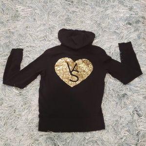 Victoria's Secret black zip up stretch hoodie S